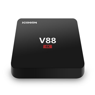 SCISHION V88 TV Box Rockchip 3229 Quad CoreTV Box &amp; Mini PC<br>SCISHION V88 TV Box Rockchip 3229 Quad Core<br><br>Model: V88<br>Type: TV Box<br>GPU: Mali-400<br>System: Android 5.1<br>CPU: RK3229<br>Core: 1.5GHz,Quad Core<br>RAM: 1G<br>RAM Type: DDR3<br>ROM: 8G<br>Max. Extended Capacity: 16G<br>Maximum External Hard Drives Capacity: No<br>Color: Black<br>Decoder Format: H.264,H.265<br>Video format: 4K,AVI,DAT,MKV,MOV,MPEG,MPG,RM,VC-1,WMV<br>Audio format: AAC,FLAC,MP3,OGG,RM,WMA<br>Photo Format: JPEG,JPG,PNG<br>Support 5.1 Surround Sound Output: No<br>Support XBMC: Yes<br>5G WiFi: No<br>Bluetooth: Unsupport<br>Power Supply: Charge Adapter<br>Interface: AV,DC Power Port,HDMI,RJ45,SD Card Slot,SPDIF,USB2.0<br>Language: Arabic,Bulgarian,Czech,Dutch,English,Finnish,French,Germany,Hindi,Italian,Japanese,Korean,Lithuanian,Norwegian,Polish language,Portuguese,Romanian,Serbian language,Slovak,Spanish,Swedish,Thai,Turkish,<br>DVD Support: No<br>HDMI Version: 2.0<br>Other Functions: Others<br>External Subtitle Supported: No<br>HDMI Function: HDCP<br>Power Comsumption: No<br>RJ45 Port Speed: No<br>System Bit: 32Bit<br>WiFi Chip: Unknown<br>KODI Pre-installed: Yes<br>KODI Version: 16.1<br>Firmware Version: Android 5.1<br>Power Type: External Power Adapter Mode<br>Power Input Vol: 5V<br>Power Adapter Output: 5V 2A<br>Remote Controller Battery: No<br>Product weight: 0.143 kg<br>Package weight: 0.460 kg<br>Product size (L x W x H): 11.60 x 11.60 x 2.50 cm / 4.57 x 4.57 x 0.98 inches<br>Package size (L x W x H): 16.60 x 12.50 x 8.20 cm / 6.54 x 4.92 x 3.23 inches<br>Package Contents: 1 x SCISHION V88 TV Box, 1 x Power Charger Adapter, 1 x HDMI Cable, 1 x Remote Control, 1 x English Manual
