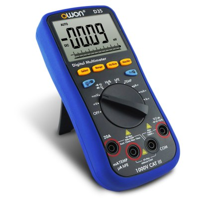 OWON D35 AC / DC Voltage Auto-scale Digital Universal MeterMultimeters &amp; Fitting<br>OWON D35 AC / DC Voltage Auto-scale Digital Universal Meter<br><br>AC Current: 600.0uA / 6.000mA / 60.00mA / 600.0mA / 6.000A / 20.00A<br>AC Voltage: 60.00mV / 600.0mV / 6.000V / 60.00V / 600.0V / 750.0V<br>Auto power off: Yes<br>Backlit Display: Yes<br>Brand: OWON<br>Capacitance: 40.00nF / 400.0nF / 4.000uF / 40.00uF / 400.0uF / 4000uF<br>Data Hold: Yes<br>DC Current: 600.0uA / 6.000mA / 60.00mA / 600.0mA / 6.000A / 20.00A<br>DC Voltage: 60.00mV / 600.0mV / 6.000V / 60.00V / 600.0V / 1000V<br>Diode Test: Yes<br>Frequency: 9.999Hz / 99.99Hz / 999.9Hz / 9.999KHz /99.99KHz / 999.9KHz / 9.999MHz<br>LCD screen size : 69mm x 52mm<br>Max. Display: 6000 Count<br>Model: D35<br>Package Contents: 1 x Multimeter, 1 x Soft Bag, 2 x Test Lead, 1 x K-type Thermocouple, 1 x English Manual<br>Package size (L x W x H): 24.00 x 19.00 x 11.00 cm / 9.45 x 7.48 x 4.33 inches<br>Package weight: 0.710 kg<br>Powered by: 2 x AA Battery<br>Product size (L x W x H): 18.50 x 8.50 x 3.00 cm / 7.28 x 3.35 x 1.18 inches<br>Product weight: 0.320 kg<br>Resistance : 600.0Ohm / 6.000Kiloohm / 60.00Kiloohm / 600.0Kiloohm / 6.000Megohm / 10.00Megohm / 60.00Megohm<br>Temperature: -50 to 400 degrees Celsius