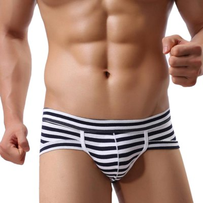 Men Cotton Stripe Printed Sexy U Convex Pouch Elastic Briefs