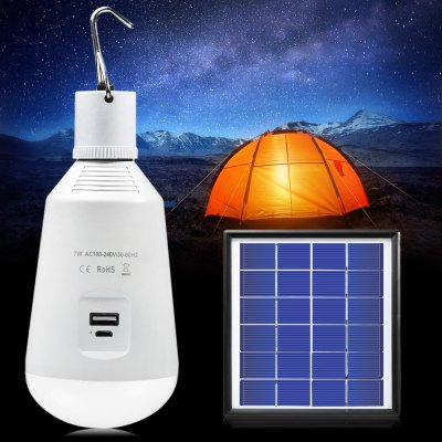 Portable Rechargeable Solar LED Bulb E27 7W 14 x SMD 2835