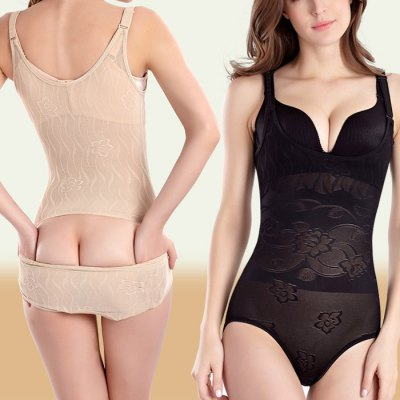 Women Jumpsuit Slimming Floral Brocade Corset Body Shapewear