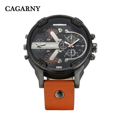 Cagarny 6820 Male Quartz WatchMens Watches<br>Cagarny 6820 Male Quartz Watch<br><br>Brand: Cagarny<br>Watches categories: Male table<br>Watch style: Fashion<br>Style elements: Big dial<br>Watch color: Brown and Silver, Black, Brown, Black and Silver<br>Movement type: Quartz watch<br>Shape of the dial: Round<br>Display type: Analog<br>Case material: Stainless Steel<br>Band material: Leather<br>Clasp type: Pin buckle<br>Special features: Date,Decorating small sub-dials<br>The dial thickness: 1.2 cm / 0.47 inches<br>The dial diameter: 5.0 cm / 1.97 inches<br>The band width: 2.2 cm / 0.86 inches<br>Wearable length: 18 - 23 cm / 7.09 - 9.06 inches<br>Product weight: 0.088 kg<br>Package weight: 0.138 kg<br>Product size (L x W x H): 27.00 x 5.00 x 1.20 cm / 10.63 x 1.97 x 0.47 inches<br>Package size (L x W x H): 28.00 x 6.00 x 2.20 cm / 11.02 x 2.36 x 0.87 inches<br>Package Contents: 1 x Cagarny 6820 Watch