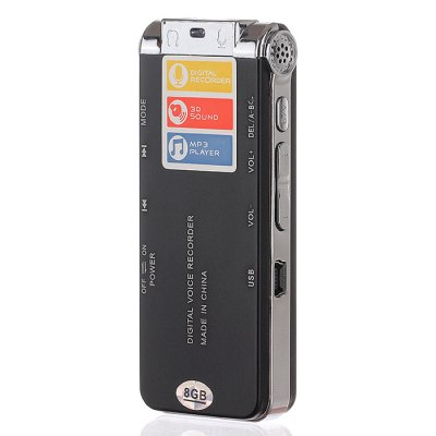 Professional 8GB GH609 Digital Voice Recorder with Time Display and Stereo Recording Function - BlackMP3 &amp; MP4 Players<br>Professional 8GB GH609 Digital Voice Recorder with Time Display and Stereo Recording Function - Black<br><br>Model: GH609<br>Package weight: 0.200 kg<br>Package size (L x W x H): 15.00 x 8.50 x 4.50 cm / 5.91 x 3.35 x 1.77 inches