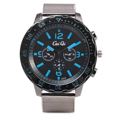 CaiQi A312 Casual Decorative Sub-dial Men Quartz WatchMens Watches<br>CaiQi A312 Casual Decorative Sub-dial Men Quartz Watch<br><br>Brand: CaiQi<br>Watches categories: Male table<br>Watch style: Casual<br>Available color: Black,Blue,Red,Yellow<br>Movement type: Quartz watch<br>Shape of the dial: Round<br>Display type: Analog<br>Case material: Alloy<br>Band material: Steel<br>Clasp type: Pin buckle<br>Special features: Decorative sub-dial<br>Dial size: 5 x 5 x 1.2 cm / 1.97 x 1.97 x 0.47 inches<br>Band size: 24.5 x 2 cm / 9.65 x 0.79 inches<br>Wearable length: 18.2 - 22.5 cm / 7.17 - 8.86 inches<br>Product weight: 0.078 kg<br>Package weight: 0.112 kg<br>Product size (L x W x H): 24.50 x 5.00 x 1.20 cm / 9.65 x 1.97 x 0.47 inches<br>Package size (L x W x H): 25.50 x 6.00 x 2.20 cm / 10.04 x 2.36 x 0.87 inches<br>Package Contents: 1 x CaiQi A312 Casual Men Quartz Watch