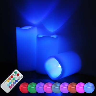 Set of 3 Color Changing Flameless LED Candle Light + Remote Controller