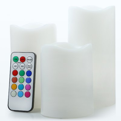 3pcs / Set LED Candle LightNovelty lighting<br>3pcs / Set LED Candle Light<br><br>Battery Type: 3 x AAA battery (not included) / candle<br>Material: PVC<br>Optional Light Color: Colorful<br>Package Contents: 3 x Candle Light, 1 x Remote Controller ( with 1 x Button Battery )<br>Package size (L x W x H): 26.00 x 8.00 x 17.00 cm / 10.24 x 3.15 x 6.69 inches<br>Package weight: 0.5300 kg<br>Power Supply: Battery<br>Product size (L x W x H): 22.50 x 7.50 x 15.00 cm / 8.86 x 2.95 x 5.91 inches<br>Product weight: 0.3870 kg<br>Type: Night Light, Mood Light