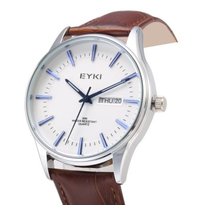 EYKI 1031 Casual Men Dual Calendar Nail Scale Quartz WatchMens Watches<br>EYKI 1031 Casual Men Dual Calendar Nail Scale Quartz Watch<br><br>Brand: Eyki<br>Watches categories: Male table<br>Watch style: Casual<br>Available color: Black,Gold,Rose Gold,Silver<br>Movement type: Quartz watch<br>Shape of the dial: Round<br>Display type: Analog<br>Case material: Stainless Steel<br>Band material: Genuine Leather<br>Clasp type: Pin buckle<br>Special features: Date,Day<br>Water resistance : 30 meters<br>Dial size: 3.8 x 3.8 x 1 cm / 1.5 x 1.5 x 0.39 inches<br>Band size: 24.5 x 2 cm / 9.65 x 0.79 inches<br>Wearable length: 18 - 22.2 cm / 7.09 - 8.74 inches<br>Product weight: 0.047 kg<br>Package weight: 0.082 kg<br>Product size (L x W x H): 24.50 x 3.80 x 1.00 cm / 9.65 x 1.5 x 0.39 inches<br>Package size (L x W x H): 25.50 x 4.80 x 2.00 cm / 10.04 x 1.89 x 0.79 inches<br>Package Contents: 1 x EYKI 1031 Casual Men Quartz Watch