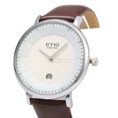 EYKI 1029 Casual Men Stereo Dial Date Displaying Quartz WatchMens Watches<br>EYKI 1029 Casual Men Stereo Dial Date Displaying Quartz Watch<br><br>Brand: Eyki<br>Watches categories: Male table<br>Watch style: Casual<br>Available color: Black,Gold,Rose Gold,Silver<br>Movement type: Quartz watch<br>Shape of the dial: Round<br>Display type: Analog<br>Case material: Stainless Steel<br>Band material: Genuine Leather<br>Clasp type: Pin buckle<br>Special features: Date<br>Water resistance : 30 meters<br>Dial size: 4 x 4 x 1 cm / 1.57 x 1.57 x 0.39 inches<br>Band size: 24.5 x 2 cm / 9.65 x 0.79 inches<br>Wearable length: 18.2 - 22.4 cm / 7.17 - 8.82 inches<br>Product weight: 0.048 kg<br>Package weight: 0.058 kg<br>Product size (L x W x H): 24.50 x 4.00 x 1.00 cm / 9.65 x 1.57 x 0.39 inches<br>Package size (L x W x H): 25.50 x 5.00 x 2.00 cm / 10.04 x 1.97 x 0.79 inches<br>Package Contents: 1 x EYKI 1029 Casual Men Quartz Watch