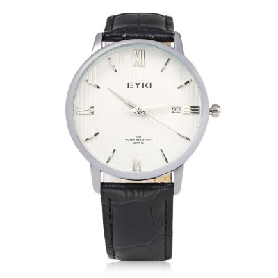 EYKI 1002L Casual Date Display 3ATM Men Quartz WatchMens Watches<br>EYKI 1002L Casual Date Display 3ATM Men Quartz Watch<br><br>Brand: Eyki<br>Watches categories: Male table<br>Watch style: Casual<br>Available color: Black,Brown,White<br>Movement type: Quartz watch<br>Shape of the dial: Round<br>Display type: Analog<br>Case material: Stainless Steel<br>Band material: Leather<br>Clasp type: Pin buckle<br>Special features: Date<br>Water resistance : 30 meters<br>Dial size: 4 x 4 x 0.8 cm / 1.57 x 1.57 x 0.31 inches<br>Band size: 24.5 x 2 cm / 9.65 x 0.79 inches<br>Wearable length: 18.2 - 22.5 cm / 7.17 - 8.86 inches<br>Product weight: 0.038 kg<br>Package weight: 0.072 kg<br>Product size (L x W x H): 24.50 x 4.00 x 0.80 cm / 9.65 x 1.57 x 0.31 inches<br>Package size (L x W x H): 25.50 x 5.00 x 1.80 cm / 10.04 x 1.97 x 0.71 inches<br>Package Contents: 1 x EYKI 1002L Casual Men Quartz Watch