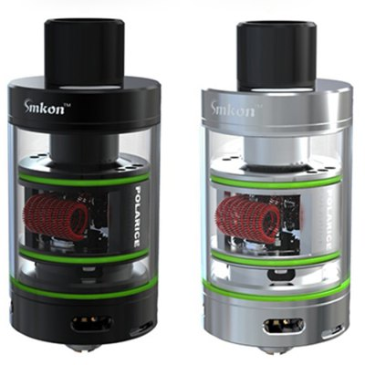 Original Smkon Polarice RTA Tank AtomizerRebuildable Atomizers<br>Original Smkon Polarice RTA Tank Atomizer<br><br>Type: Rebuildable Atomizer,Rebuildable Tanks<br>Rebuildable Atomizer: RBA,RTA<br>Brand: Smkon<br>Model: Polarice<br>Available color: Black,Silver<br>Material: Glass,Stainless Steel<br>Tank Capacity: 2.0ml<br>Coil Quantity: Dual coil<br>Thread: 510<br>Overall Diameter: 25mm<br>Product weight: 0.055 kg<br>Package weight: 0.153 kg<br>Product size (L x W x H): 2.50 x 2.50 x 5.71 cm / 0.98 x 0.98 x 2.25 inches<br>Package size (L x W x H): 7.60 x 7.60 x 3.60 cm / 2.99 x 2.99 x 1.42 inches<br>Package Contents: 1 x Smkon Polarice RTA Atomizer, 1 x Spare Glass Tank, 1 x Accessory Kit