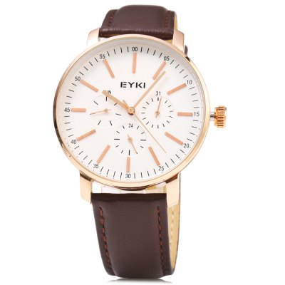 EYKI 1046 Casual Working Sub-dial Men Quartz WatchMens Watches<br>EYKI 1046 Casual Working Sub-dial Men Quartz Watch<br><br>Brand: Eyki<br>Watches categories: Male table<br>Watch style: Casual<br>Available color: Black,Brown,Rose Gold,White<br>Movement type: Quartz watch<br>Shape of the dial: Round<br>Display type: Analog<br>Case material: Stainless Steel<br>Band material: Leather<br>Clasp type: Pin buckle<br>Special features: Working sub-dial<br>Dial size: 4.2 x 4.2 x 1 cm / 1.65 x 1.65 x 0.39 inches<br>Band size: 25.4 x 2 cm / 10 x 0.79 inches<br>Wearable length: 18.6 - 23.6 cm / 7.32 - 9.29 inches<br>Product weight: 0.053 kg<br>Package weight: 0.088 kg<br>Product size (L x W x H): 25.40 x 4.20 x 1.00 cm / 10 x 1.65 x 0.39 inches<br>Package size (L x W x H): 26.40 x 5.20 x 2.00 cm / 10.39 x 2.05 x 0.79 inches<br>Package Contents: 1 x EYKI 1046 Casual Men Quartz Watch