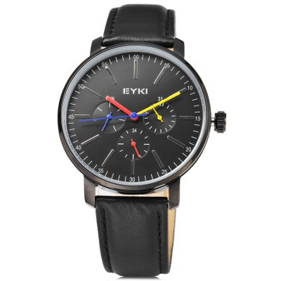 EYKI 1046 Casual Working Sub-dial Men Quartz WatchMens Watches<br>EYKI 1046 Casual Working Sub-dial Men Quartz Watch<br><br>Available Color: Black,Brown,Rose Gold,White<br>Band material: Leather<br>Band size: 25.4 x 2 cm / 10 x 0.79 inches<br>Brand: Eyki<br>Case material: Stainless Steel<br>Clasp type: Pin buckle<br>Dial size: 4.2 x 4.2 x 1 cm / 1.65 x 1.65 x 0.39 inches<br>Display type: Analog<br>Movement type: Quartz watch<br>Package Contents: 1 x EYKI 1046 Casual Men Quartz Watch<br>Package size (L x W x H): 26.40 x 5.20 x 2.00 cm / 10.39 x 2.05 x 0.79 inches<br>Package weight: 0.088 kg<br>Product size (L x W x H): 25.40 x 4.20 x 1.00 cm / 10 x 1.65 x 0.39 inches<br>Product weight: 0.053 kg<br>Shape of the dial: Round<br>Special features: Working sub-dial<br>Watch style: Casual<br>Watches categories: Male table<br>Wearable length: 18.6 - 23.6 cm / 7.32 - 9.29 inches