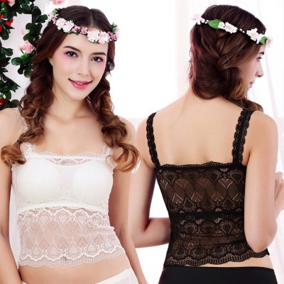 Women Sexy Seamless Backless Lace Bra with Padded Cups