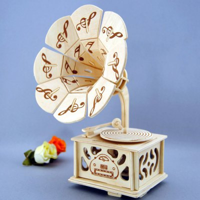 Wooden Music Box Phonograph Shape