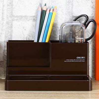 Deli 9115 Plastic Pen Holder Storage Box Pencil Container