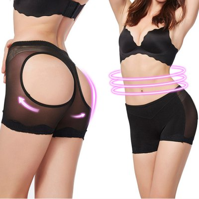 Women Sexy Mesh Legging Cheeky Open Girdle Shorts