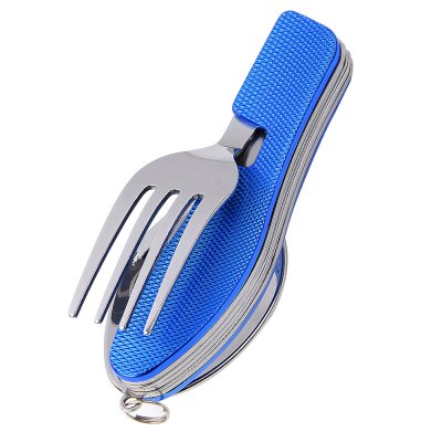 Portable 4 in 1 Multifunctional Foldable TablewareCamp Kitchen<br>Portable 4 in 1 Multifunctional Foldable Tableware<br><br>Best Use: Camping,Climbing<br>Color: Blue<br>Features: Portable, Foldable, Easy to use, Durable, Compact size<br>Folding Dimension: 10.5cm<br>Fork Length: 18cm<br>Material: Stainless Steel, Aluminum Alloy<br>Package Contents: 1 x 4 in 1 Foldable Tableware<br>Package Dimension: 10.80 x 3.80 x 3.50 cm / 4.25 x 1.5 x 1.38 inches<br>Package weight: 0.154 kg<br>Product Dimension: 18.50 x 3.80 x 3.20 cm / 7.28 x 1.5 x 1.26 inches<br>Product weight: 0.117 kg<br>Spoon Length: 18.5cm<br>Type: Tableware<br>Unfolding Dimension: 18.5cm