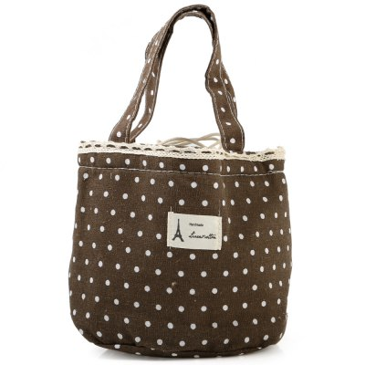 8L Warm-keeping Lunch Bag with Draw Cord / Cute Dot