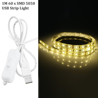 1M USB 60 x SMD 5050 6W 5V Waterproof USB LED Ribbon Light