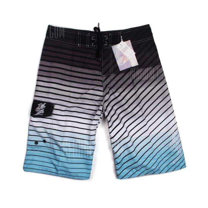 Men Stripe Printing Quick Drying Beach Shorts Lace-up Pants