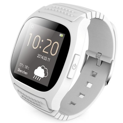 RWATCH M26 Bluetooth Smart LED WatchSmart Watches<br>RWATCH M26 Bluetooth Smart LED Watch<br><br>Brand: Rwatch<br>Bluetooth version: Bluetooth 4.0<br>Bluetooth calling: Answering,Phone call reminder,Phonebook<br>Messaging: Message reminder<br>Health tracker: Pedometer<br>Remote Control: Camera remote,Music remote<br>Notification: Yes<br>Anti-lost: Yes<br>Other Functions: Alarm,Calender,Stopwatch,Thermometer<br>Groups of alarm: 5 sets<br>Screen: TFT<br>Screen size: 1.4 inch<br>Battery Capacity: 230mAh<br>Standby time: 180 hours<br>Power: Built-in battery<br>Shape of the dial: Rectangle<br>Case material: Aluminium Alloy<br>Band material: TPU<br>Language: Arabic,Dutch,English,Finnish,French,German,Hebrew,Indonesian,Italian,Korean,Polish,Portuguese,Romanian,Russian,Spanish,Swedish,Thai,Turkish,Vietnamese<br>Available color: Black,Blue,White<br>Package size (L x W x H): 12.00 x 8.50 x 7.00 cm / 4.72 x 3.35 x 2.76 inches<br>Product weight: 0.070 kg<br>Package weight: 0.199 kg<br>Package Contents: 1 x Watch, 1 x USB Cable, 1 x Manual
