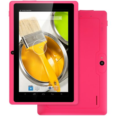 Q88H Kid Tablet PCFeatured Tablets<br>Q88H Kid Tablet PC<br><br>Type: Kids Tablet<br>OS: Android 4.4<br>CPU Brand: All Winner<br>CPU: A33<br>GPU: Mali-400 MP<br>Core: 1.3GHz<br>RAM: 512MB<br>ROM: 8GB<br>External Memory: TF card up to 32GB (not included)<br>WIFI: 802.11b/g/n wireless internet<br>Support Network: WiFi<br>Screen size: 7 inch<br>Screen resolution: 1024 x 600 (WSVGA)<br>Camera type: Dual cameras (one front one back)<br>Back camera: 0.3MP<br>Front camera: 0.3MP<br>TF card slot: Yes<br>Micro USB Slot: Yes<br>3.5mm Headphone Jack: Yes<br>Battery Capacity: 3.7V / 2000mAh<br>AC adapter: 100-240V 5V 2A<br>G-sensor: Supported<br>Skype: Supported<br>Youtube: Supported<br>Speaker: Supported<br>MIC: Supported<br>Google Play Store: Yes<br>Picture format: BMP,GIF,JPEG,PNG<br>Music format: AAC,MP3,OGG,WAV,WMA<br>Video format: 3GP,AVI,MP4,RMVB,WMV<br>MS Office format: Excel,PPT,Word<br>Languages support : Android OS supports multi-language<br>Product size: 18.20 x 12.00 x 1.00 cm / 7.17 x 4.72 x 0.39 inches<br>Package size: 24.00 x 16.00 x 6.00 cm / 9.45 x 6.3 x 2.36 inches<br>Product weight: 0.278 kg<br>Package weight: 0.654 kg<br>Tablet PC: 1<br>Tablet Case: 1<br>USB Cable: 1