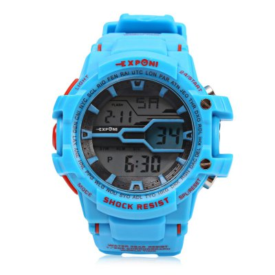 EXPONI 3205 Outdoor Sports Digital WatchLED Watches<br>EXPONI 3205 Outdoor Sports Digital Watch<br><br>Band material: Rubber<br>Band size: 24.5 x 2.2 cm / 9.65 x 0.87 inches<br>Case material: Plastic<br>Clasp type: Pin buckle<br>Dial size: 5 x 5 x 1.5 cm / 1.97 x 1.97 x 0.59 inches<br>Display type: Digital<br>Hour formats: 12/24 Hour<br>Movement type: Digital watch<br>Package Contents: 1 x EXPONI 3205 Outdoor Sports Digital Watch, 1 x Box<br>Package size (L x W x H): 9.00 x 9.00 x 6.00 cm / 3.54 x 3.54 x 2.36 inches<br>Package weight: 0.114 kg<br>People: Female table,Male table<br>Product size (L x W x H): 24.50 x 5.00 x 1.50 cm / 9.65 x 1.97 x 0.59 inches<br>Product weight: 0.050 kg<br>Shape of the dial: Round<br>Special features: Stopwatch, World time clock timer countdown, EL Back-light<br>Watch color: Black, Red, Black + Red, Blue, Deep Blue, White<br>Watch style: Outdoor Sports, Fashion<br>Wearable length: 15 - 22 cm / 5.91 - 8.66 inches