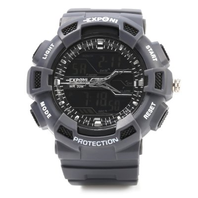 EXPONI 3230 Backlight Outdoor Sports Digital Quartz WatchLED Watches<br>EXPONI 3230 Backlight Outdoor Sports Digital Quartz Watch<br><br>Available Color: Army green,Black,Blue,Gold,Gray,White<br>Band material: Rubber<br>Band size: 26.8 x 2.8 cm / 10.55 x 1.1 inches<br>Case material: PC<br>Clasp type: Pin buckle<br>Dial size: 5.3 x 5.3 x 1.7 cm / 2.09 x 2.09 x 0.79 inches<br>Display type: Analog-Digital<br>Hour formats: 12/24 Hour<br>Movement type: Quartz + digital watch<br>Package Contents: 1 x EXPONI 3230 Outdoor Sports Digital Quartz Watch, 1 x Box<br>Package size (L x W x H): 9.00 x 9.00 x 6.00 cm / 3.54 x 3.54 x 2.36 inches<br>Package weight: 0.117 kg<br>People: Female table,Male table<br>Product size (L x W x H): 26.80 x 5.30 x 1.70 cm / 10.55 x 2.09 x 0.67 inches<br>Product weight: 0.063 kg<br>Shape of the dial: Round<br>Special features: EL Back-light, Day, Alarm Clock, Date, Stopwatch<br>Watch style: Outdoor Sports<br>Water resistance : 30 meters<br>Wearable length: 18 - 24 cm / 7.09 - 9.45 inches