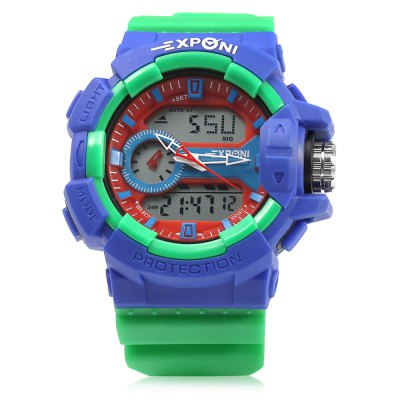 EXPONI 3227 Outdoor Sports Digital Quartz WatchLED Watches<br>EXPONI 3227 Outdoor Sports Digital Quartz Watch<br><br>Available Color: Black,Blue,Gold,Green,Red,Yellow<br>Band material: Rubber<br>Band size: 25.6 x 3 cm / 10.08 x 1.18 inches<br>Case material: Plastic<br>Clasp type: Pin buckle<br>Dial size: 5.3 x 5.3 x 1.8 cm / 2.09 x 2.09 x 0.71 inches<br>Display type: Analog-Digital<br>Hour formats: 12/24 Hour<br>Movement type: Quartz + digital watch<br>Package Contents: 1 x EXPONI 3227 Outdoor Sports Digital Quartz Watch, 1 x Box<br>Package size (L x W x H): 9.00 x 9.00 x 6.00 cm / 3.54 x 3.54 x 2.36 inches<br>Package weight: 0.112 kg<br>People: Female table,Male table<br>Product size (L x W x H): 25.60 x 5.30 x 1.80 cm / 10.08 x 2.09 x 0.71 inches<br>Product weight: 0.058 kg<br>Shape of the dial: Round<br>Special features: Day, Date, Alarm Clock, Stopwatch, EL Back-light<br>Watch style: Outdoor Sports<br>Wearable length: 16.2 - 23.2 cm / 6.38 - 9.13 inches