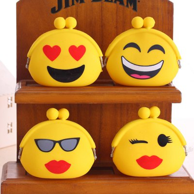 Girls Cute Purse Cartoon Emoji Coin Wallet Silicone Headset Bag