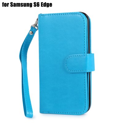 Crazy-horse PU Leather Wallet Protective Case for Samsung Galaxy S6 Edge