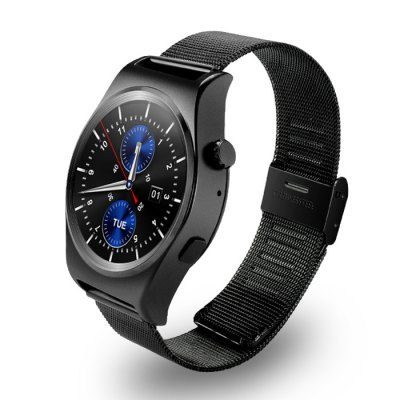 X10 Stainless Steel Strap Smart Wristband WatchSmart Watches<br>X10 Stainless Steel Strap Smart Wristband Watch<br><br>Built-in chip type: MTK2502<br>Bluetooth version: Bluetooth 4.0<br>RAM: 128MB<br>ROM: 64MB<br>Waterproof: Yes<br>IP rating: IP65<br>Bluetooth calling: Answering,Call log sync,Dialing,Phone call reminder,Phonebook<br>Messaging: Message reminder<br>Health tracker: Heart rate monitor,Pedometer,Sedentary reminder,Sleep monitor<br>Remote control function: Remote Camera,Remote music<br>Notification: Yes<br>Notification type: Facebook,Twitter,Wechat<br>Anti-lost: Yes<br>Find phone: Yes<br>Alert type: Ring,Vibration<br>Locking screen : 5<br>Other function: Alarm,Altimeter,Barometer,Calculator,Thermometer<br>Screen: IPS<br>Screen resolution: 240 x 240<br>Screen size: 1.3 inch<br>Operating mode: Press button,Touch Screen<br>Type of battery: Polymer Battery<br>Battery Capacty: 210mAh<br>Charging time: About 2hours<br>Standby time: About 3 Days<br>People: Female table,Male table<br>Shape of the dial: Round<br>Case material: Alloy<br>Band material: Stainless Steel<br>Compatible OS: Android,IOS<br>Compatability: Android 4.3 / iOS 7.0 and above system<br>Language: Arabic,Dutch,English,French,German,Italian,Portuguese,Russian,Spanish,Turkish<br>Available color: Black,Silver<br>Dial size: 4.2 x 4.2 x 1.2 cm / 1.65 x 1.65 x 0.47 inches<br>Band size: 25 x 2 cm / 9.84 x 0.79 inches<br>Product size (L x W x H): 25.00 x 4.20 x 1.20 cm / 9.84 x 1.65 x 0.47 inches<br>Package size (L x W x H): 10.00 x 8.00 x 7.50 cm / 3.94 x 3.15 x 2.95 inches<br>Product weight: 0.058 kg<br>Package weight: 0.210 kg<br>Package Contents: 1 x X10 Smart Wristband Watch, 1 x Charging Cable, 1 x Chinese-English User Manual
