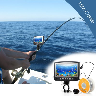 CR110 - 7HB15M Underwater Fishing CameraFishing Tools and Accessories<br>CR110 - 7HB15M Underwater Fishing Camera<br><br>Back Lighting: LED<br>Battery: Lithium-ion battery<br>Battery Included: Yes<br>Certificate: CE<br>Color: Black<br>Display Style: LCD<br>Package Contents: 1 x CR110 - 7HB15M Underwater Fishing Camera with 15m Cable and Reel, 1 x Monitor, 1 x Holder, 1 x Float, 1 x Charger, 10 x Metal Clip, 1 x English User Manual<br>Package size (L x W x H): 20.50 x 16.00 x 7.50 cm / 8.07 x 6.3 x 2.95 inches<br>Package weight: 0.7300 kg<br>Product size (L x W x H): 12.00 x 11.50 x 2.00 cm / 4.72 x 4.53 x 0.79 inches<br>Product weight: 0.2040 kg<br>Screen Size (L?W)cm: 9.6 x 5.5cm<br>Working Temperature Range (Centigrade): - 20 - 60
