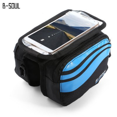 B - SOUL YA0205 Bicycle Front Tube BagBike Bags<br>B - SOUL YA0205 Bicycle Front Tube Bag<br><br>Brand: B-SOUL<br>Color: Blue,Green,Light blue,Orange,Silver<br>Emplacement: Front Tube<br>For: Unisex<br>Material: Polyester<br>Model Number: YA0205<br>Package Contents: 1 x B - SOUL Bicycle Front Tube Bag<br>Package Dimension: 20.00 x 13.50 x 5.00 cm / 7.87 x 5.31 x 1.97 inches<br>Package weight: 0.180 kg<br>Product Dimension: 19.00 x 12.50 x 11.50 cm / 7.48 x 4.92 x 4.53 inches<br>Product weight: 0.110 kg<br>Suitable for: Road Bike, Mountain Bicycle, Cross-Country Cycling