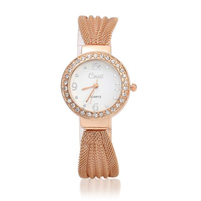 Cussi 80510 Simple Fashion Women Quartz WatchWomens Watches<br>Cussi 80510 Simple Fashion Women Quartz Watch<br><br>Watches categories: Female table<br>Watch style: Fashion<br>Available color: Gold,Rose Gold,Silver<br>Movement type: Quartz watch<br>Shape of the dial: Round<br>Display type: Analog<br>Case material: Alloy<br>Band material: Steel<br>Clasp type: Sheet folding clasp<br>Dial size: 3 x 3 x 0.8 cm / 1.18 x 1.18 x 0.31 inches<br>Band size: 21.5 x 1.8 cm / 8.46 x 0.71 inches<br>Product weight: 0.030 kg<br>Package weight: 0.094 kg<br>Product size (L x W x H): 21.50 x 3.00 x 0.80 cm / 8.46 x 1.18 x 0.31 inches<br>Package size (L x W x H): 22.50 x 4.00 x 1.80 cm / 8.86 x 1.57 x 0.71 inches<br>Package Contents: 1 x Cussi 80510 Simple Fashion Women Quartz Watch, 1 x Box