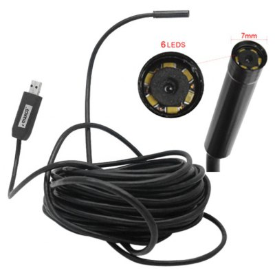 7mm Lens Borescope Endoscope with Side Mirror - 10m Cable Length