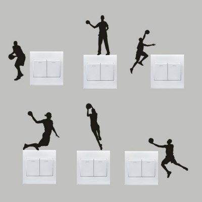 6pcs DIY Basketball Removable Wall Switch Sticker Home Decoration