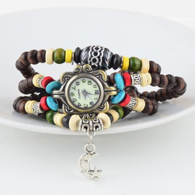Female Wrist Quartz Watch Elastic Beads Wrist Band Round Dial Arabic Numerals IndicateWomens Watches<br>Female Wrist Quartz Watch Elastic Beads Wrist Band Round Dial Arabic Numerals Indicate<br><br>Watches categories: Female table<br>Available color: Brown<br>Style: Fashion&amp;Casual,Bracelet,Retro<br>Movement type: Quartz watch<br>Shape of the dial: Round<br>Case material: Metal<br>Case color: Coppery<br>Band material: Wood<br>Clasp type: Conjoined clasp<br>Band color: Brown<br>The dial thickness: 0.5 cm / 0.2 inch<br>The dial diameter: 2.5 cm / 1.0 inch<br>Product weight: 0.027 kg<br>Product size (L x W x H): 33.20 x 3.20 x 0.50 cm / 13.07 x 1.26 x 0.2 inches<br>Package Contents: 1 x Watch