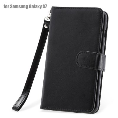 Crazy-horse PU Leather Wallet Protective Case for Samsung Galaxy S7