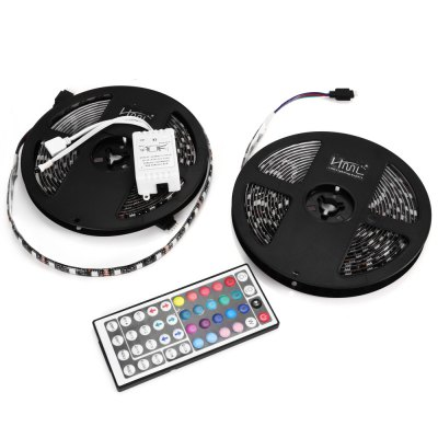 2 x HML Waterproof RGB Strip LightLED Strips<br>2 x HML Waterproof RGB Strip Light<br><br>Brand: HML<br>CCT/Wavelength: 465nm,530nm,635nm<br>Connector Type: 4PIN<br>Features: Controller<br>Input Voltage: DC12<br>LED Type: SMD-5050<br>Length: 5m x 2<br>Material: FPC<br>Number of LEDs: 300 x 2<br>Optional Light Color: RGB<br>Package Contents: 2 x HML LED Light Strip, 1 x 44-key Remote Controller (with Button Battery), 1 x Controller Box, 1 x English Manual<br>Package size (L x W x H): 18.00 x 18.00 x 3.00 cm / 7.09 x 7.09 x 1.18 inches<br>Package weight: 0.436 kg<br>Product size (L x W x H): 500.00 x 1.00 x 0.30 cm / 196.85 x 0.39 x 0.12 inches<br>Product weight: 0.181 kg<br>Rated Power (W): 72W<br>Type: LED Strip