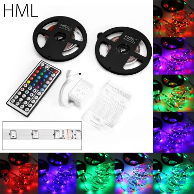 2pcs HML RGB Light StripLED Strips<br>2pcs HML RGB Light Strip<br><br>Brand: HML<br>CCT/Wavelength: 465nm,530nm,635nm<br>Connector Type: 4PIN<br>Features: Controller<br>Input Voltage: DC12<br>LED Type: SMD-2835<br>Length: 5m x 2<br>Material: FPC<br>Number of LEDs: 300 x 2<br>Optional Light Color: RGB<br>Package Contents: 2 x HML LED Light Strip, 1 x 44-key Remote Controller (with Button Battery), 1 x Controller Box, 1 x English Manual<br>Package size (L x W x H): 16.00 x 16.00 x 2.00 cm / 6.3 x 6.3 x 0.79 inches<br>Package weight: 0.170 kg<br>Product size (L x W x H): 500.00 x 1.00 x 0.20 cm / 196.85 x 0.39 x 0.08 inches<br>Product weight: 0.045 kg<br>Rated Power (W): 24W<br>Type: LED Strip