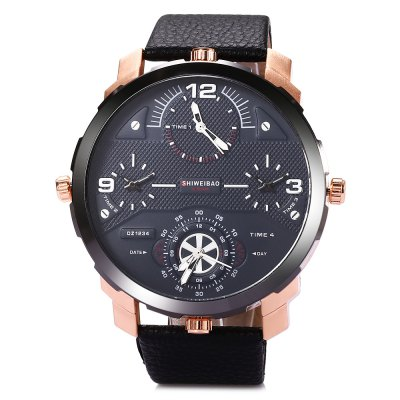 SHIWEIBAO A3612 Casual Men Quartz WatchMens Watches<br>SHIWEIBAO A3612 Casual Men Quartz Watch<br><br>Available Color: Black,Brown,Deep Blue,Gray<br>Band material: Leather<br>Band size: 27.7 x 2.8 cm / 10.91 x 1.10 inches<br>Brand: Shiweibao<br>Case material: Stainless Steel<br>Clasp type: Pin buckle<br>Dial size: 5.7 x 5.7 x 1.5 cm / 2.24 x 0.59 inches<br>Display type: Analog<br>Movement type: Multiple Movt<br>Package Contents: 1 x SHIWEIBAO A3612 Casual Men Quartz Watch, 1 x Box<br>Package size (L x W x H): 8.50 x 8.00 x 5.30 cm / 3.35 x 3.15 x 2.09 inches<br>Package weight: 0.160 kg<br>Product size (L x W x H): 27.70 x 5.70 x 1.50 cm / 10.91 x 2.24 x 0.59 inches<br>Product weight: 0.096 kg<br>Shape of the dial: Round<br>Watch style: Casual<br>Watches categories: Male table<br>Water resistance : Life water resistant<br>Wearable length: 21.6 - 25.8 cm / 8.50 - 10.16 inches