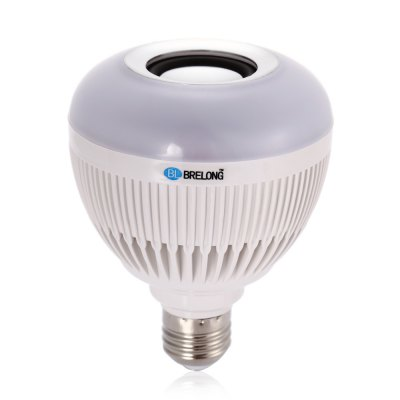 BRELONG Bluetooth LED BulbSmart Lighting<br>BRELONG Bluetooth LED Bulb<br><br>Brand: BRELONG<br>Holder: E27<br>Output Power: 12W<br>Voltage (V): AC 100-240V<br>Total Emitters: 12<br>Luminous Flux: 500-550Lm<br>Available Light Color: RGBW<br>Features: Bluetooth,Dimming,Easy to use,Energy Saving,Long Life Expectancy,Loudspeaker,Remote Control<br>Function: Commercial Lighting,Home Lighting,Studio and Exhibition Lighting<br>Body Color: White<br>Sheathing Material: PC<br>Product weight: 0.154 kg<br>Package weight: 0.238 kg<br>Product size (L x W x H): 12.00 x 9.50 x 9.50 cm / 4.72 x 3.74 x 3.74 inches<br>Package size (L x W x H): 13.50 x 10.50 x 10.50 cm / 5.31 x 4.13 x 4.13 inches<br>Package Contents: 1 x BRELONG Bluetooth Bulb, 1 x Remote Controller (with Button Battery), 1 x English Manual