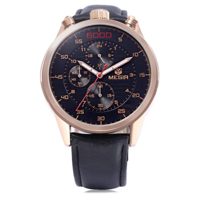 MEGIR 3005G Male Quartz WatchMens Watches<br>MEGIR 3005G Male Quartz Watch<br><br>Brand: MEGIR<br>Watches categories: Male table<br>Watch style: Business<br>Available color: Black,Gold,White<br>Movement type: Quartz watch<br>Shape of the dial: Round<br>Display type: Analog<br>Hour formats: 24 Hour<br>Case material: Alloy<br>Band material: Genuine Leather<br>Clasp type: Pin buckle<br>Special features: Moving small three stitches,Stopwatch<br>Water resistance : 30 meters<br>The dial thickness: 1.7 cm / 0.39 inches<br>The dial diameter: 4.5 cm / 1.77 inches<br>The band width: 2.1 cm / 0.83 inches<br>Wearable length: 26cm<br>Product weight: 0.096 kg<br>Package weight: 0.146 kg<br>Product size (L x W x H): 26.00 x 4.50 x 1.70 cm / 10.24 x 1.77 x 0.67 inches<br>Package size (L x W x H): 28.00 x 6.00 x 3.00 cm / 11.02 x 2.36 x 1.18 inches<br>Package Contents: 1 x MEGIR 3005G Watch