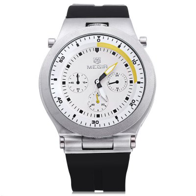 MEGIR 3003 Male Quartz WatchMens Watches<br>MEGIR 3003 Male Quartz Watch<br><br>Brand: MEGIR<br>Watches categories: Male table<br>Watch style: Business<br>Available color: Black,Brown,White<br>Movement type: Quartz watch<br>Shape of the dial: Round<br>Display type: Analog<br>Hour formats: 24 Hour<br>Case material: Alloy<br>Band material: Silicone<br>Clasp type: Pin buckle<br>Special features: Moving small three stitches<br>Water resistance : 30 meters<br>The dial thickness: 1.7 cm / 0.39 inches<br>The dial diameter: 4.4 cm / 1.73 inches<br>The band width: 2.2 cm / 0.87 inches<br>Wearable length: 27cm<br>Product weight: 0.120 kg<br>Package weight: 0.170 kg<br>Product size (L x W x H): 27.00 x 4.40 x 1.70 cm / 10.63 x 1.73 x 0.67 inches<br>Package size (L x W x H): 28.00 x 6.00 x 3.00 cm / 11.02 x 2.36 x 1.18 inches<br>Package Contents: 1 x MEGIR 3003 Watch