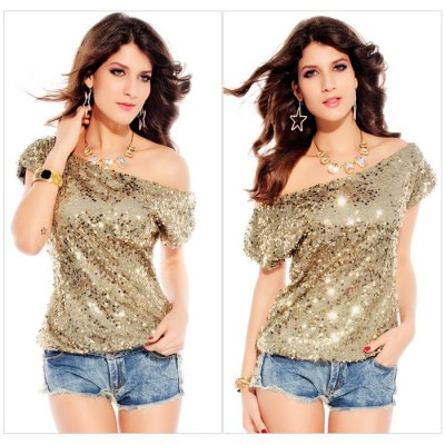 Women Off The Shoulder Sequined T-shirt