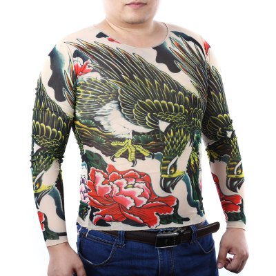 Men Eagle Flower Print Stretchy Tattoo T-shirt