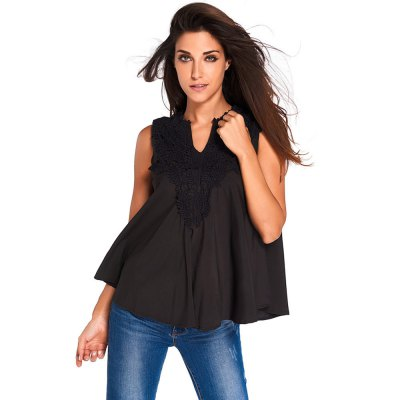 Women Applique Embroidered Ruffle V-neck Tank Tops