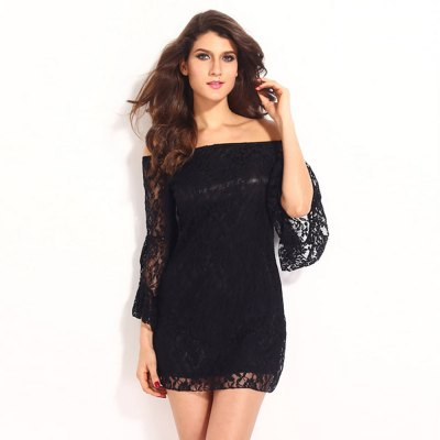 Flare Sleeve Off The Shoulder Lace Dress