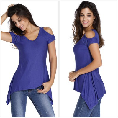 Women Cold Shoulder T-shirtTees<br>Women Cold Shoulder T-shirt<br><br>Material: Polyester, Spandex<br>Neckline: V-Neck<br>Package Content: 1 x Women T-shirt<br>Package size: 25.00 x 15.00 x 2.00 cm / 9.84 x 5.91 x 0.79 inches<br>Package weight: 0.245 kg<br>Product weight: 0.120 kg<br>Season: Summer<br>Size: L,M,S,XL<br>Sleeve Length: Short Sleeves